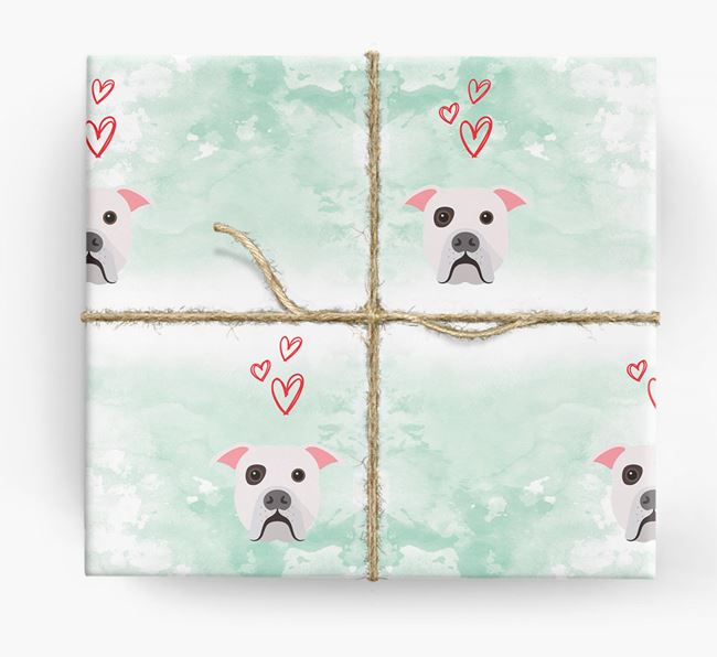 American Bulldog Icons & Hearts Wrapping Paper