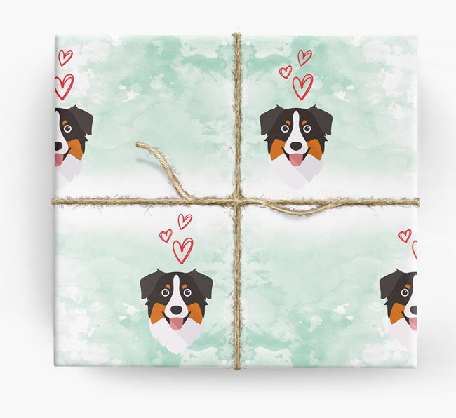 Aussie Shepherd Icons & Hearts Wrapping Paper