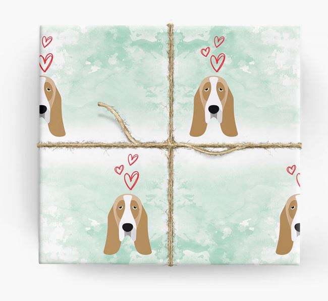 Basset Hound Icons & Hearts Wrapping Paper