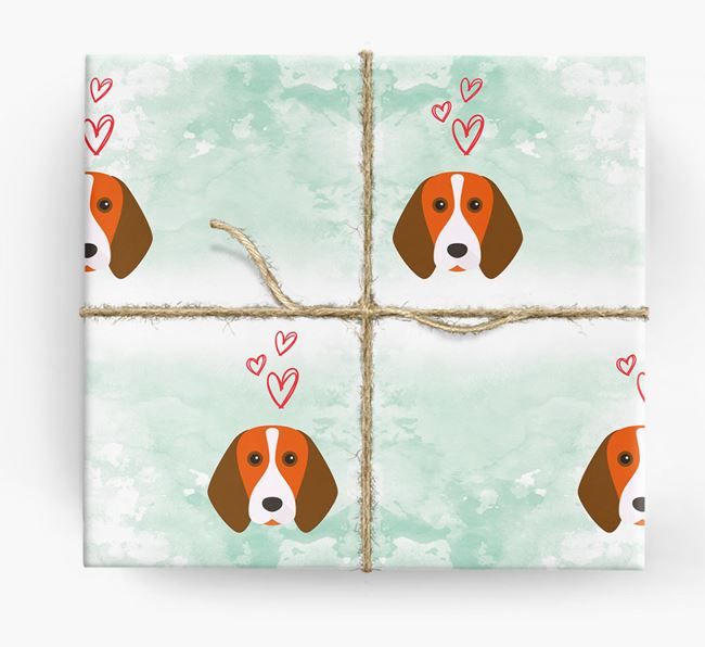 Beagle Icons & Hearts Wrapping Paper