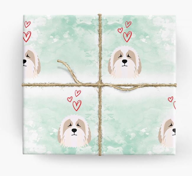 Bearded Collie Icons & Hearts Wrapping Paper