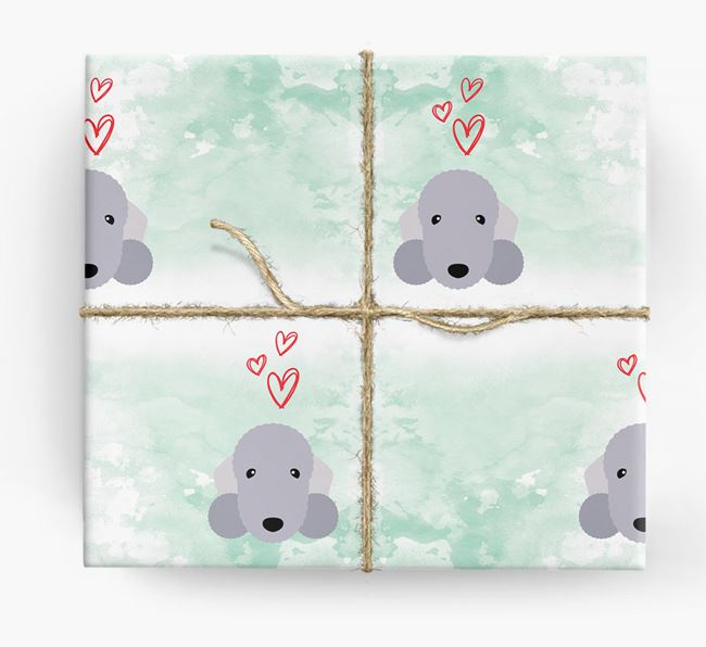 Bedlington Icons & Hearts Wrapping Paper