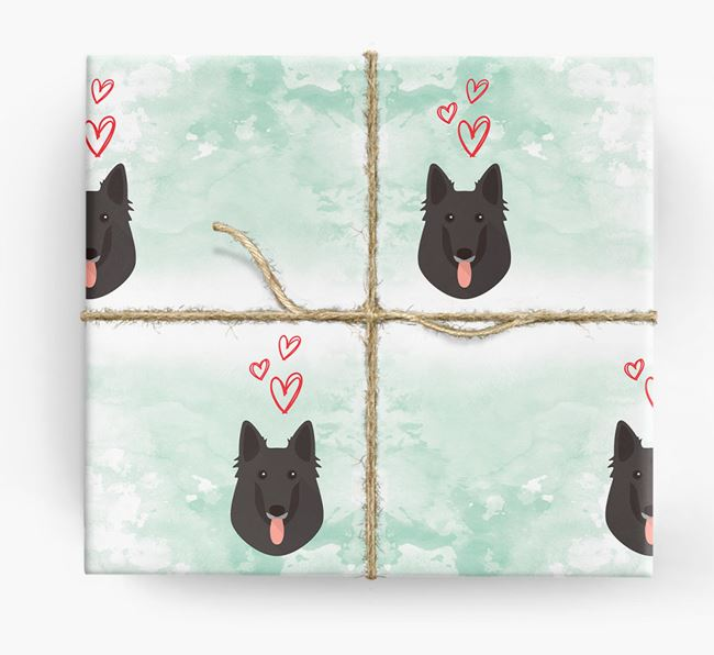 Belgian Shepherd Icons & Hearts Wrapping Paper