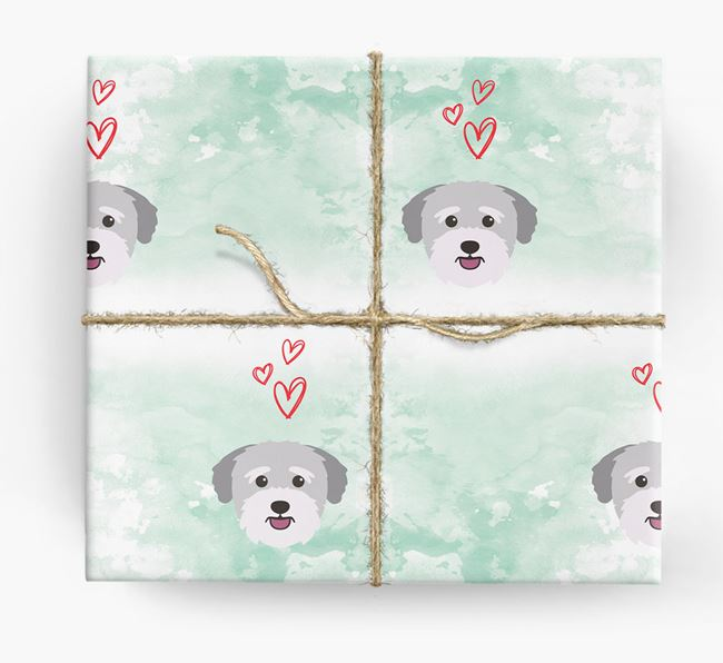 Bichon Yorkie Icons & Hearts Wrapping Paper