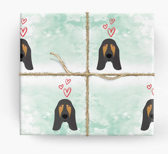 Bloodhound Icons & Hearts Wrapping Paper