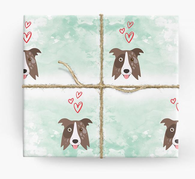 Border Collie Icons & Hearts Wrapping Paper