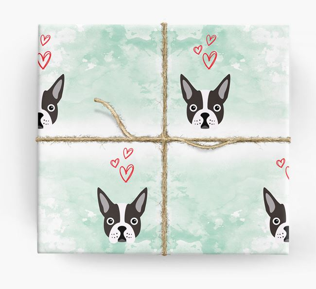 Boston Terrier Icons & Hearts Wrapping Paper