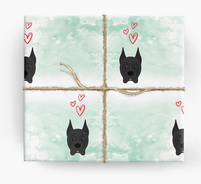 Boxer Icons & Hearts Wrapping Paper