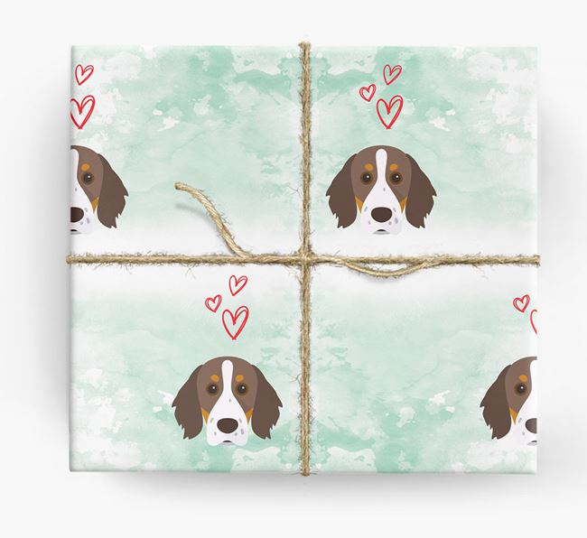 Brittany Spaniel Icons & Hearts Wrapping Paper