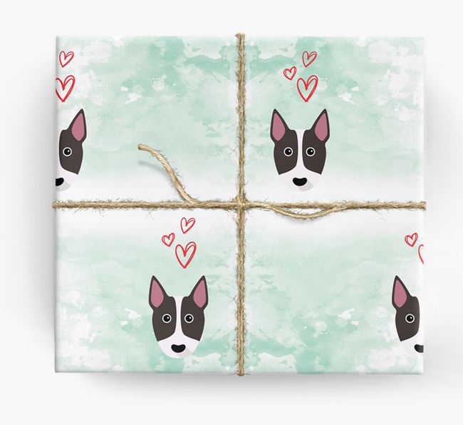 Bull Terrier Icons & Hearts Wrapping Paper