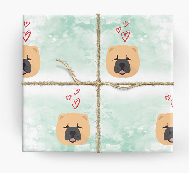 Chow Chow Icons & Hearts Wrapping Paper
