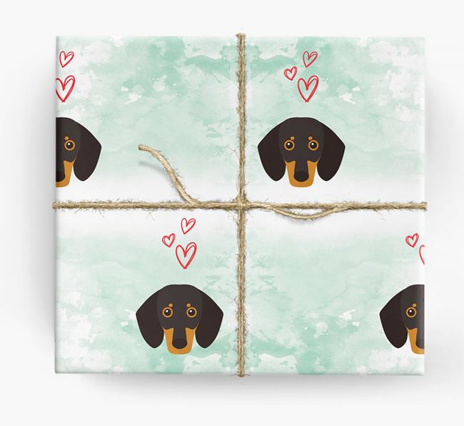 Dachshund Icons & Hearts Wrapping Paper