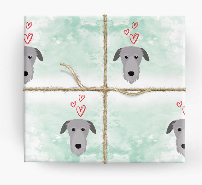 Deerhound Icons & Hearts Wrapping Paper
