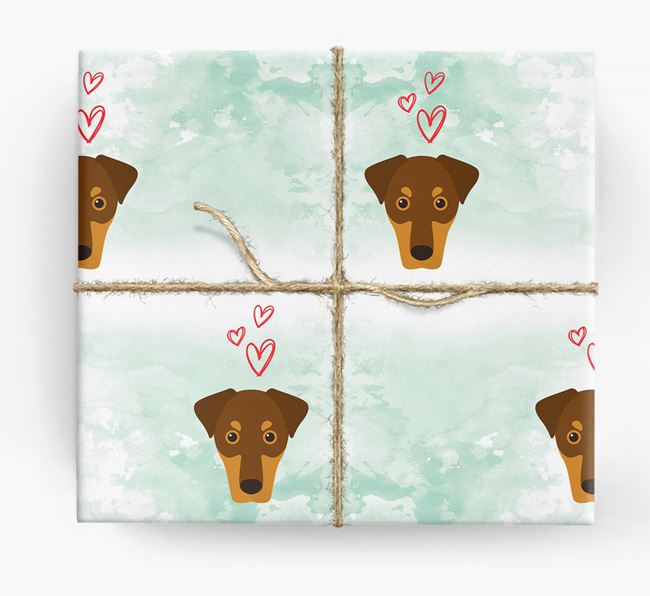 Dobermann Icons & Hearts Wrapping Paper
