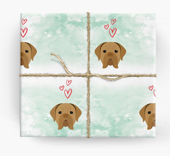 Dogue de Bordeaux Icons & Hearts Wrapping Paper