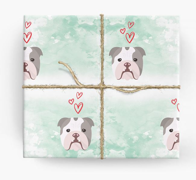 Bulldog Icons & Hearts Wrapping Paper