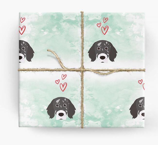 English Setter Icons & Hearts Wrapping Paper