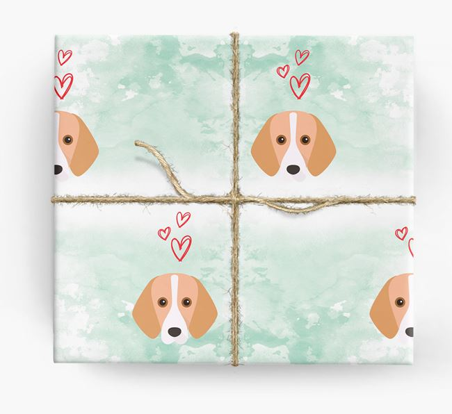 Foxhound Icons & Hearts Wrapping Paper