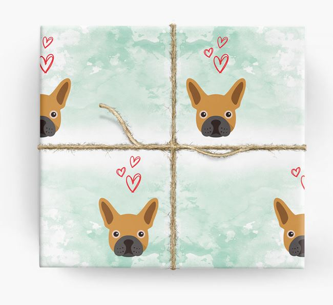 Frenchie Icons & Hearts Wrapping Paper