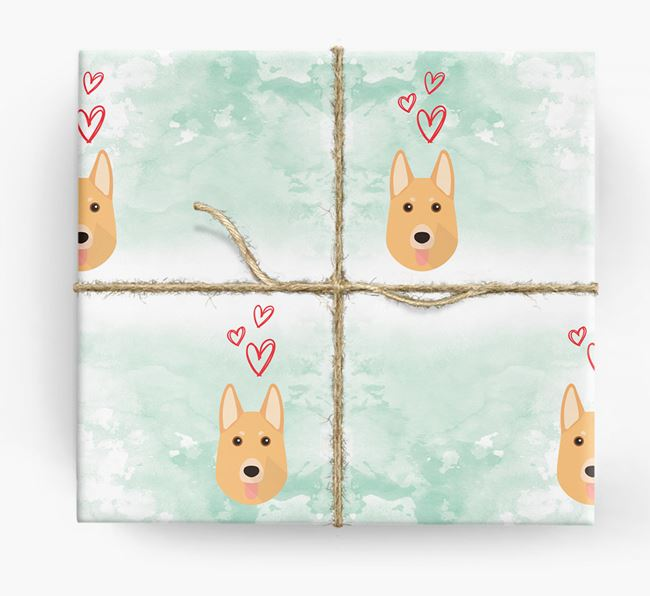 German Shepherd Icons & Hearts Wrapping Paper