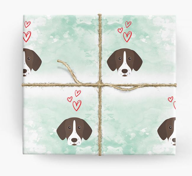 Shorthaired Pointer Icons & Hearts Wrapping Paper