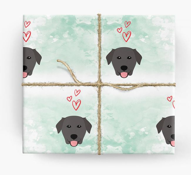 Golden Lab Icons & Hearts Wrapping Paper