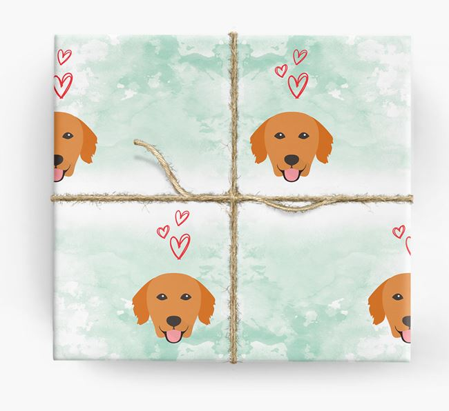 Golden Retriever Icons & Hearts Wrapping Paper