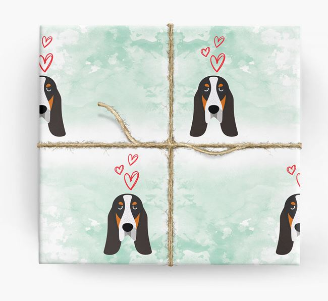 Grand Bleu Icons & Hearts Wrapping Paper