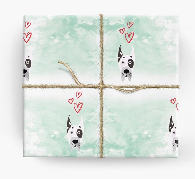 Great Dane Icons & Hearts Wrapping Paper