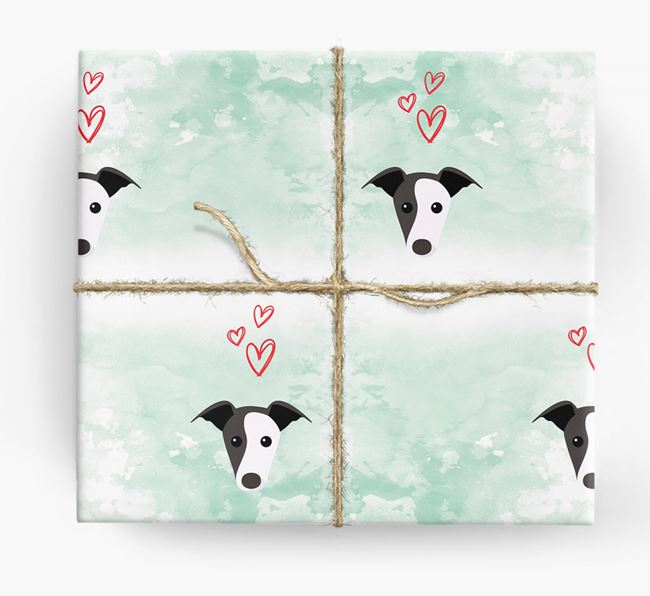 Greyhound Icons & Hearts Wrapping Paper