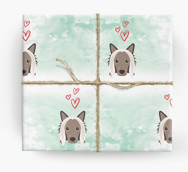 Chinese Crested Icons & Hearts Wrapping Paper