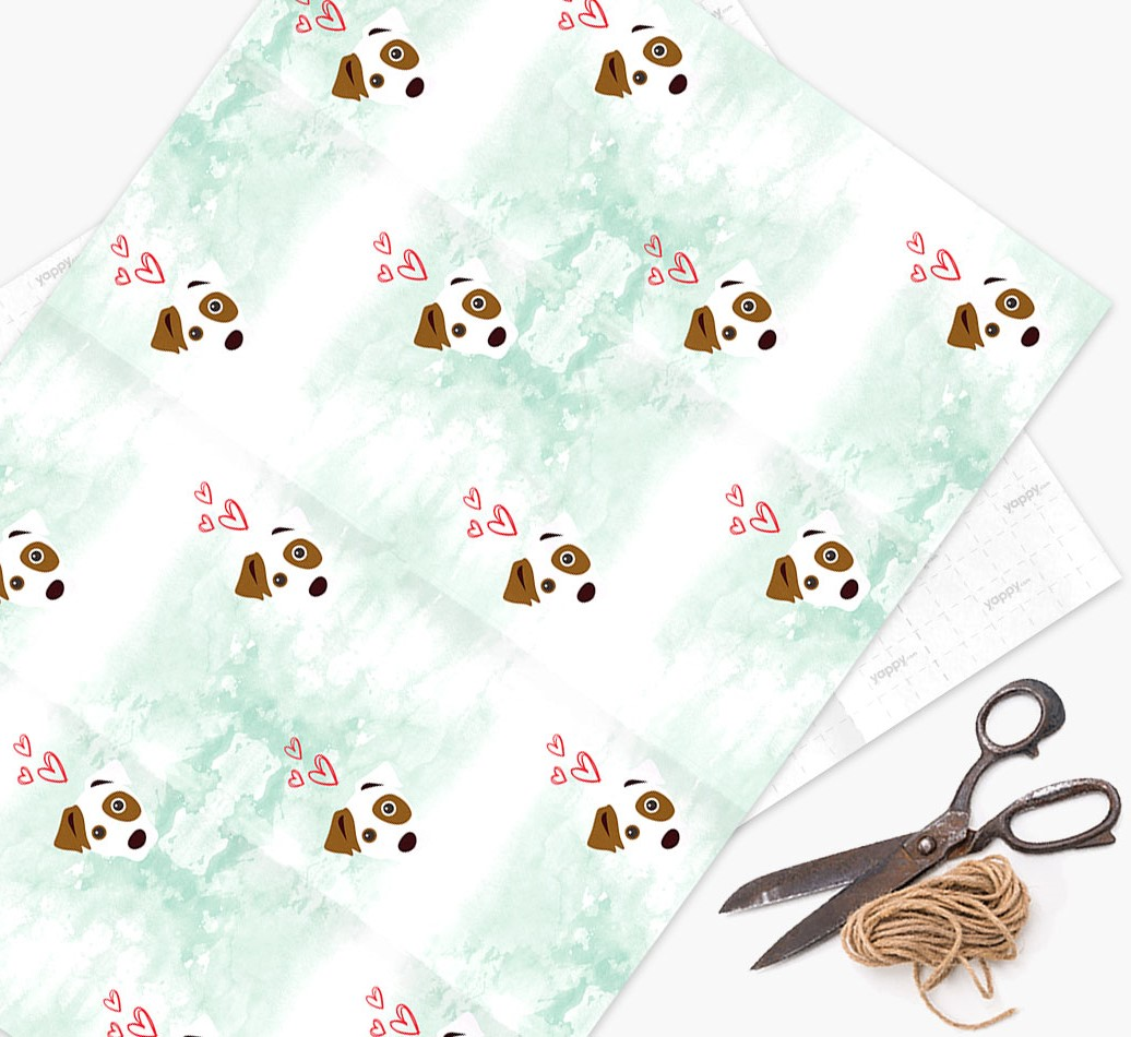 Wrapping Paper with Dog icons & hearts on a watercolor background