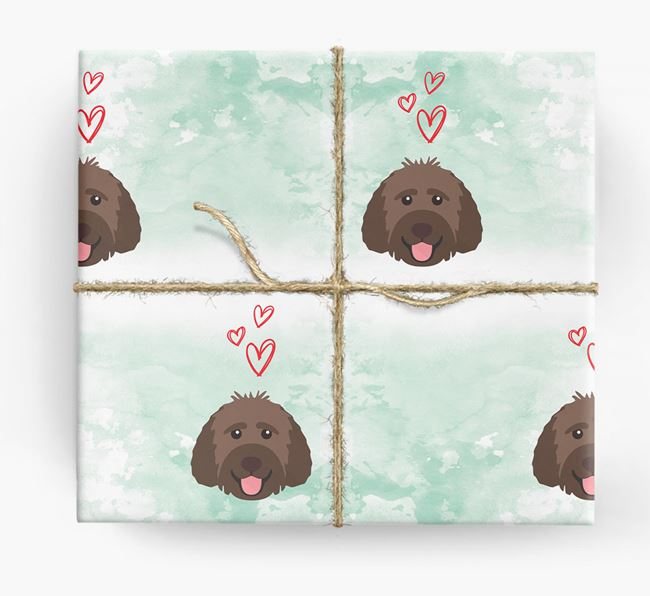 Labradoodle Icons & Hearts Wrapping Paper