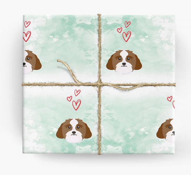 Lhasa Apso Icons & Hearts Wrapping Paper