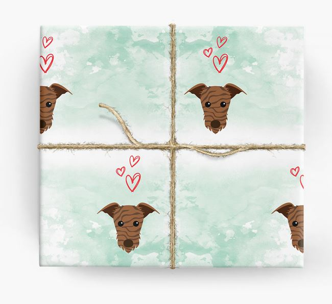 Lurcher Icons & Hearts Wrapping Paper