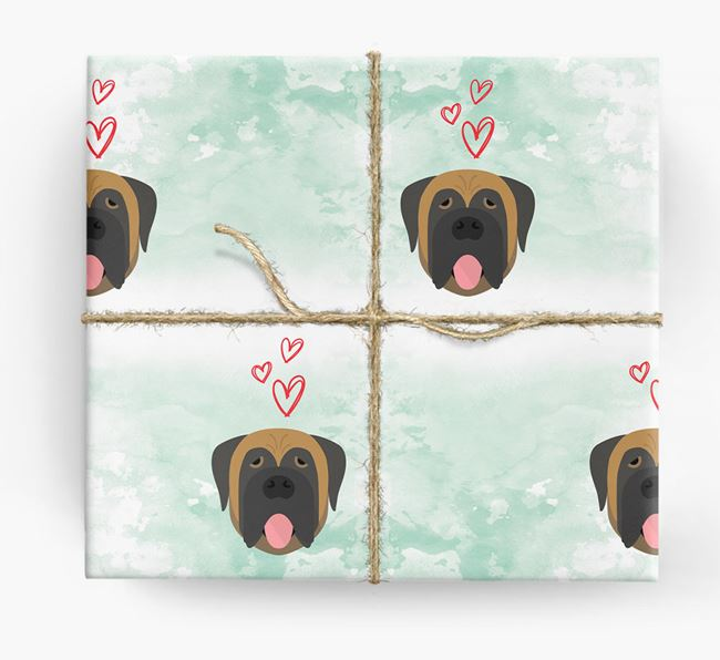 Mastiff Icons & Hearts Wrapping Paper