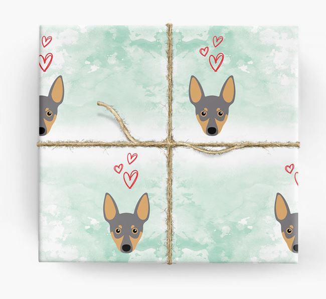 Miniature Pinscher Icons & Hearts Wrapping Paper
