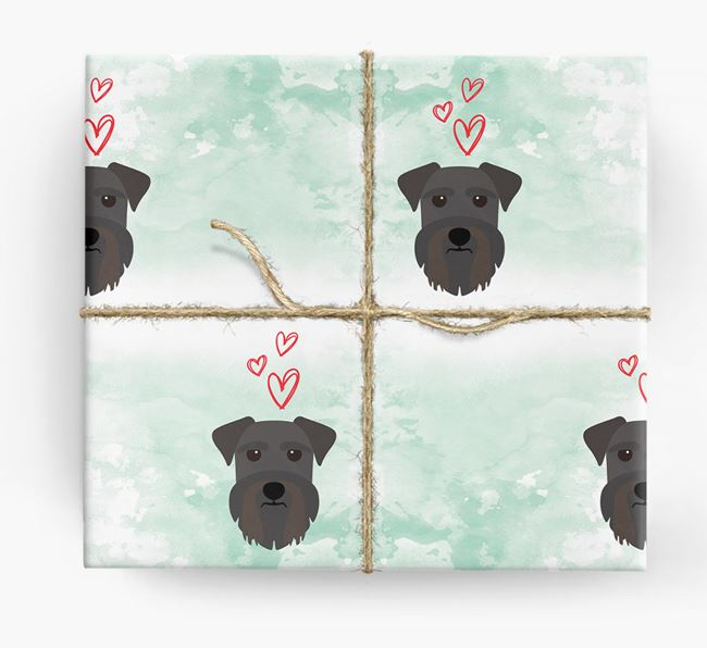 Miniature Schnauzer Icons & Hearts Wrapping Paper