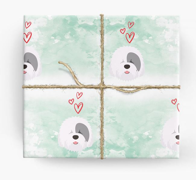 Sheepdog Icons & Hearts Wrapping Paper