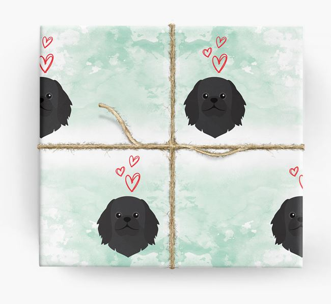 Pekingese Icons & Hearts Wrapping Paper