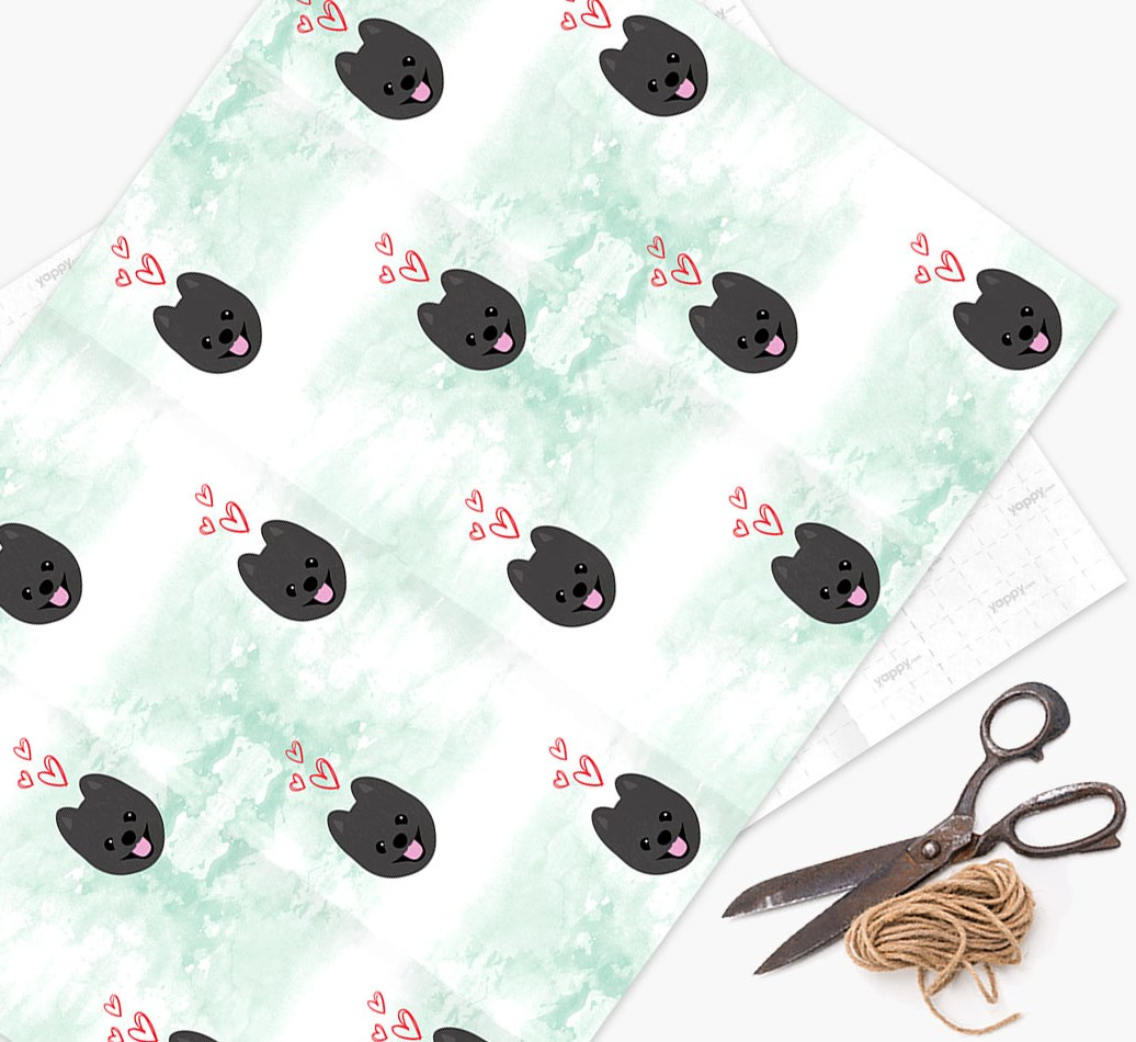 Wrapping Paper with Pomapoo icons & hearts on a watercolor background