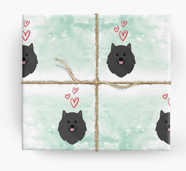 Pomeranian Icons & Hearts Wrapping Paper