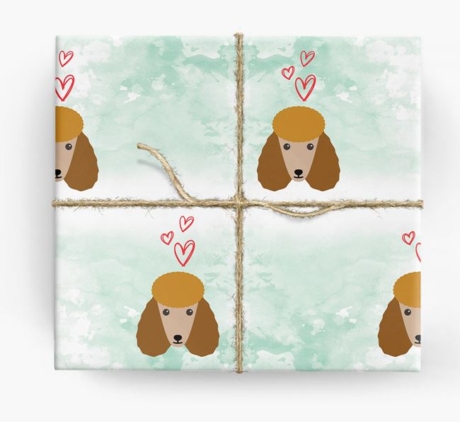 Poodle Icons & Hearts Wrapping Paper