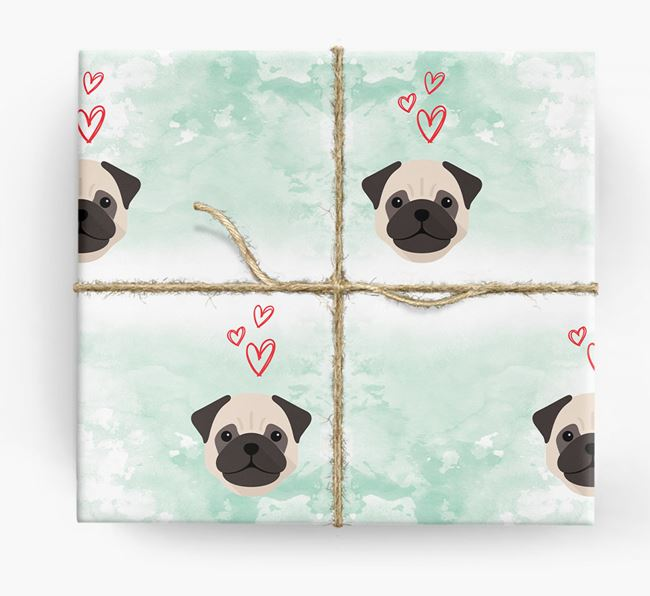 Pug Icons & Hearts Wrapping Paper
