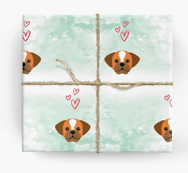 Puggle Icons & Hearts Wrapping Paper