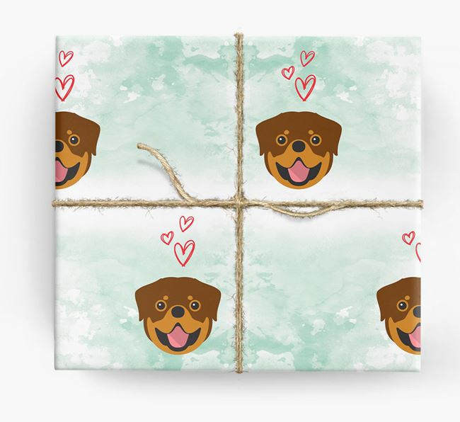Rottweiler Icons & Hearts Wrapping Paper