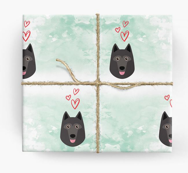 Schipperke Icons & Hearts Wrapping Paper