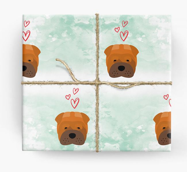 Shar Pei Icons & Hearts Wrapping Paper