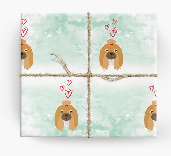 Shih Tzu Icons & Hearts Wrapping Paper