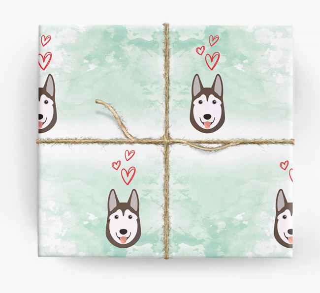 Husky Icons & Hearts Wrapping Paper